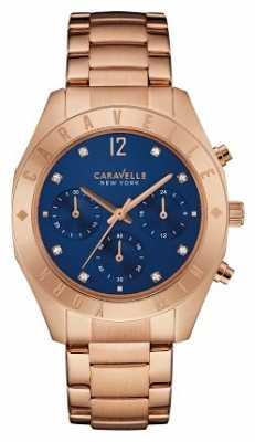 Caravelle New York Ladies Boyfriend Blue Dial Chronograph 44L192