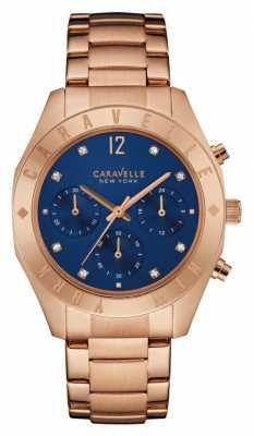 Caravelle New York Ladies Boyfriend Blue Dial Chronograph 44L192