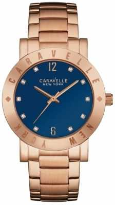 Caravelle New York Ladies Boyfriend Blue Dial Watch 44L202