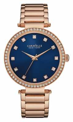 Caravelle New York Ladies Blue Dial T Bar Watch 44L210