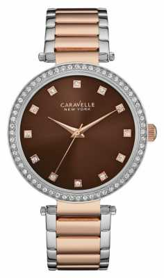 Caravelle New York Ladies Two Tone T Bar Watch 45L152