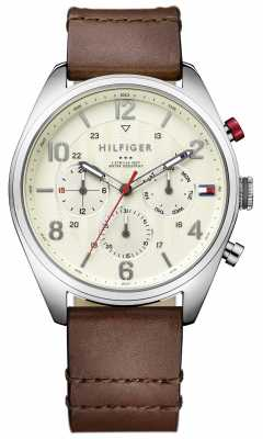 Tommy Hilfiger Mens Brown Leather Strap Cream Dial Chrono 1791208