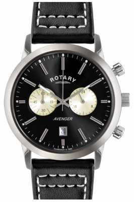 Rotary Mens Avenger Black Leather Strap Chrono GS02730/04