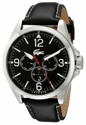 Lacoste Mens Montreal Black Leather Strap 2010804