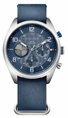 Tommy Hilfiger Mens Corbin Blue Leather Strap Blue Dial 1791187