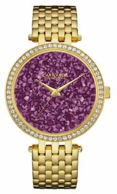 Caravelle New York Ladies Gold Pvd Plated Purple Dial 44L212