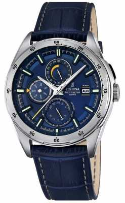 Festina Mens Blue Leather Strap Multifunction Dial F16877/2
