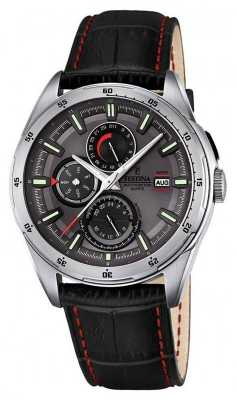 Festina Mens Black Leather Strap Multifunction Dial F16877/3