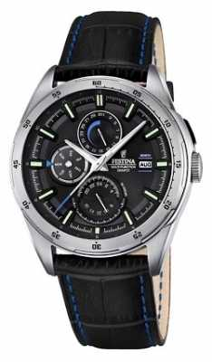 Festina Mens Black Leather Strap Multifunction Dial F16877/4