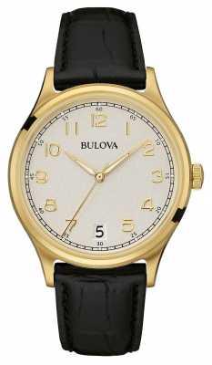 Bulova Mens Vintage Black Leather Strap Gold PVD 97B147
