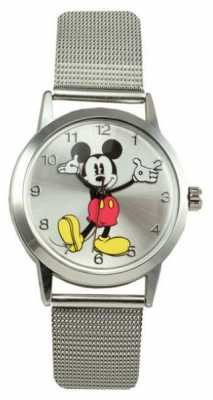 Disney By Ingersoll Womens Classic Mesh Strap Silver Dial 26094