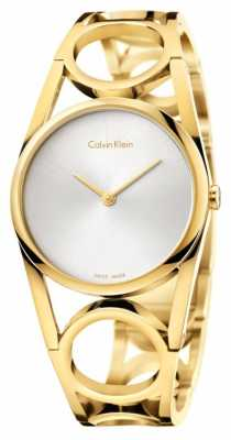 Calvin Klein Womens Round Gold PVD Plated Silver Dial K5U2S546