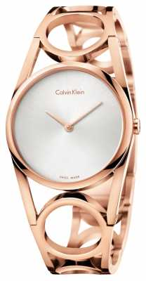 Calvin Klein Womens Round Rose Gold PVD Plated Silver Dial K5U2S646