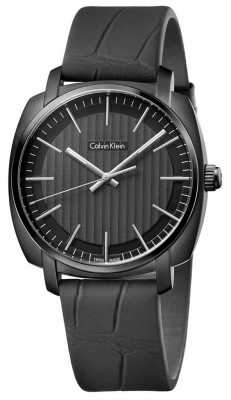 Calvin Klein Mens Highline Black Leather Strap Black Dial K5M314C1