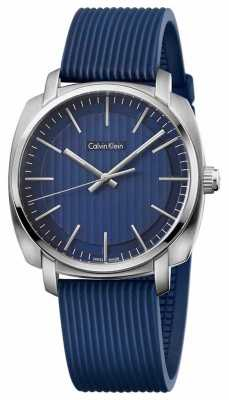 Calvin Klein Mens Highline Blue Rubber Strap Blue Dial K5M311ZN