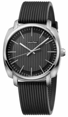 Calvin Klein Mens Highline Black Rubber Strap Black Dial K5M311D1