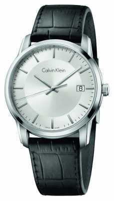 Calvin Klein Mens Infinite Black Leather Strap Silver Dial K5S311C6
