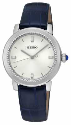 Seiko Womens Blue Leather Strap White Dial SRZ451P1