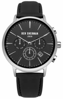 Ben Sherman Mens Black Leather Strap Black Dial WB028B