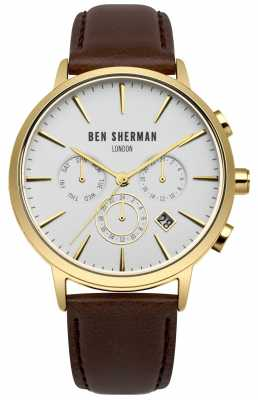 Ben Sherman Mens Brown Leather Strap White Dial WB028BRGA