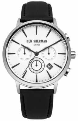 Ben Sherman Mens Black Leather Strap White Dial WB028W