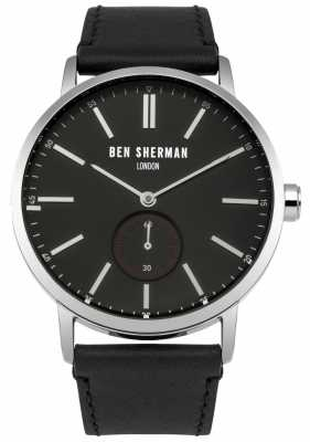 Ben Sherman Mens Black Leather Strap Black Dial WB032B