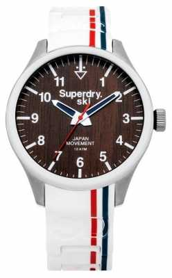 Superdry Mens Ski White Rubber Strap Brown Dial SYG185W