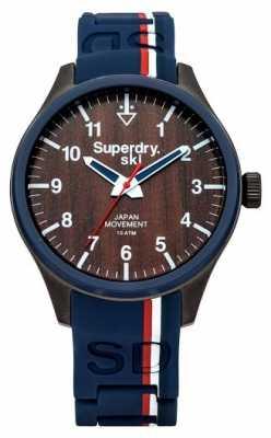 Superdry Mens Ski Blue Rubber Strap Brown Dial SYG185U