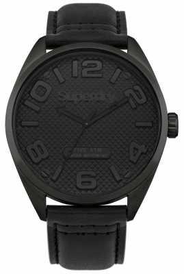 Superdry Mens Black Leather Strap Black Dial SYG192BB