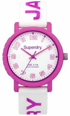 Superdry Womens White Rubber Strap White Dial SYL196P