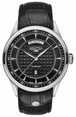 Roamer Mens Superior Black Leather Strap Black Dial 508293415505