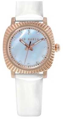 Ted Baker Womens White Leather Strap White Dial TE2122