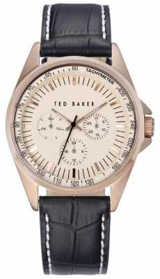 Ted Baker Mens Black Leather Strap Rose Gold Dial TE1115