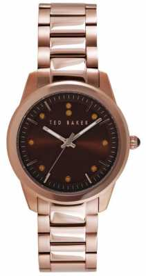 Ted Baker Womens Rose Gold PVD Plated Brown Dial TE4094