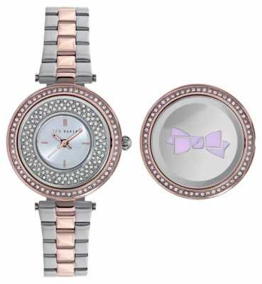 Ted Baker Womens Two Tone Rotating Case Silver Dial TE10023507