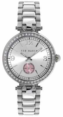 Ted Baker Womens Stainless Steel Stone Set Silver Dial TE10023475