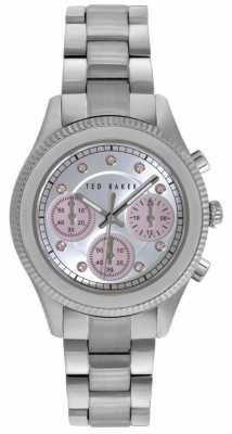 Ted Baker Womens Stainless Steel Stone Set Silver Dial TE4108