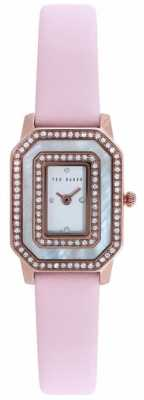 Ted Baker Womens Pink Leather Strap Stone Set Dial TE10023480
