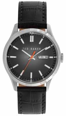 Ted Baker Unisex Black Leather Strap Black Dial TE10023466