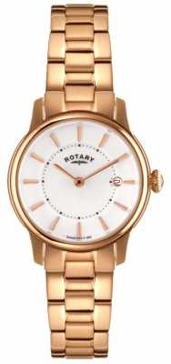 Rotary Womens Locarno Rose Gold PVD White Dial LB02774/02