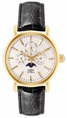Rotary Mens Les Originales Black Strap Moon Phase GS90136/02