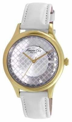 Kenneth Cole Womens White Leather Strap Clear Dial KC10026008