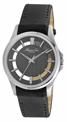 Kenneth Cole Mens Black Leather Strap Black Dial KC10022286