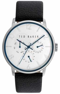 Ted Baker Mens Black Leather Strap White Dial TE10023491