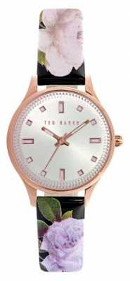 Ted Baker Womens Floral Leather Rose Gold Case Silver Dial TE10025270