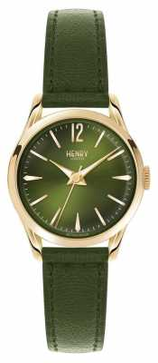 Henry London Womens Chiswick Green Leather Green Dial HL25-S-0094