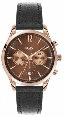 Henry London Unisex Harrow Black Leather Strap Brown Dial HL39-CS-0054