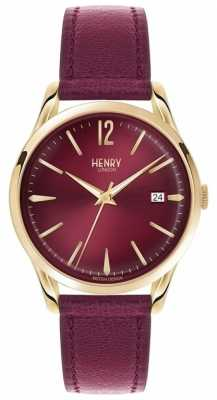 Henry London Unisex Holborn Burgundy Leather Burgundy Dial HL39-S-0066