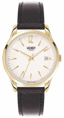 Henry London Unisex Westminster Black Leather White Dial HL39-S-0010