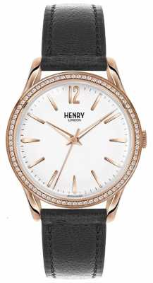 Henry London Womens Richmond Black Leather White Dial HL39-SS-0032